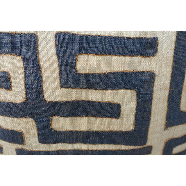 Primitive Large Square Black and Tan African Kuba Cloth Pillows - Pair For Sale - Image 3 of 5