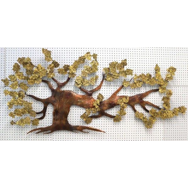 Mid-Century Modern Very Large Tree of Life Metal Brass and Copper Wall Hanging Sculpture For Sale - Image 3 of 11