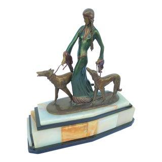 Art Deco Sculpture . Bronze Title Is the Aristocrats Prfo Portzel Two Dogs For Sale