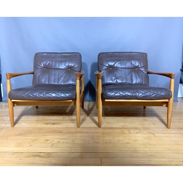 1960s Pair Erik Wørts Solid Oak & Leather Lounge Chairs, Sweden 1960s For Sale - Image 5 of 12