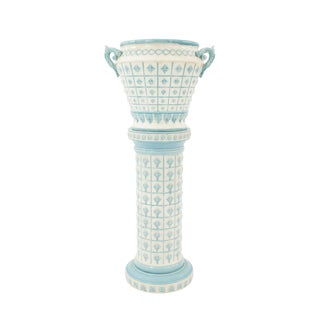 French Mid-19th Century Blue and White Porcelain Jardinière For Sale