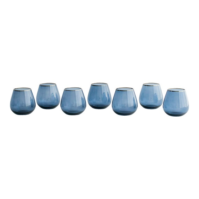 Set of 4 stemless goblets. They have a bulbous mouth and are perfect to use for water or wine.