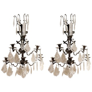 Pair of Spanish Iron and Crystal Five-Light Wall Sconces, 19th Century For Sale