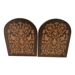 Vintage Italian Inlaid Marquetry Bookends. Pr For Sale