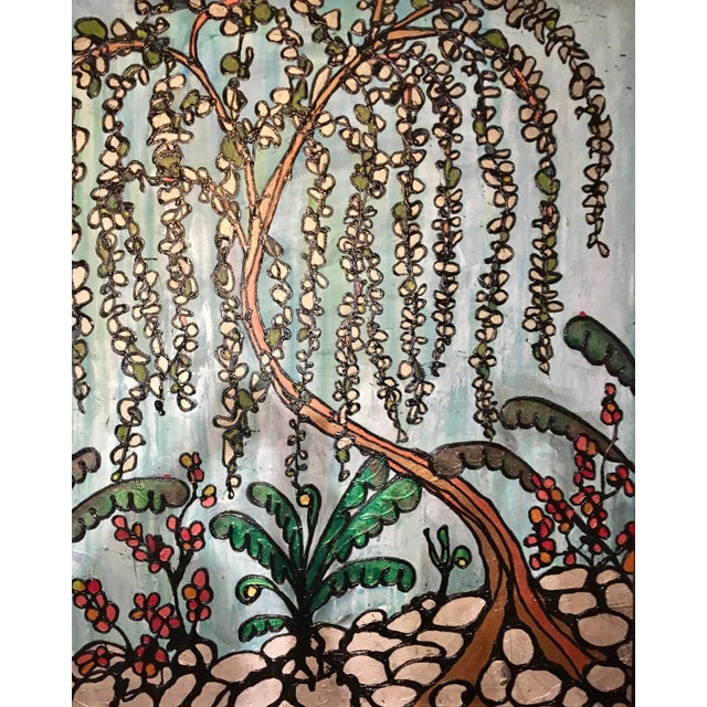 Abstract Original Ron Curlee Painting on Canvas, Weeping Cherry For Sale - Image 3 of 3