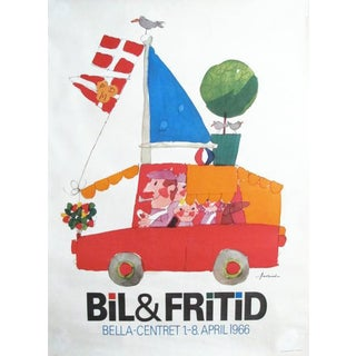 1966 Vintage Danish Mid-Century Family Poster, Bil & Fritid, Kids Room Decor Wall Art For Sale