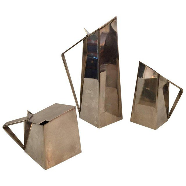 Geometric Design Silver-Plate Tea or Coffee Service in the Manner of Gio Ponti - Set of 3 For Sale In Miami - Image 6 of 6
