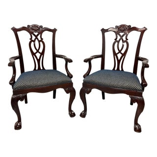 Century Mahogany Chippendale Ball in Claw Dining Captain's Armchairs - Pair For Sale