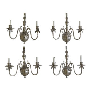 Contemporary Traditional Pewter Double Arm Lighted Wall Sconces - Set of 4