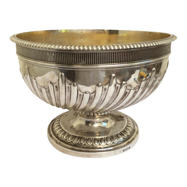 Antique English Sterling Silver Punch Bowl For Sale