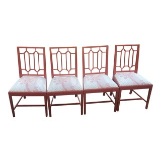Coral Lacquered Chairs - Set of Four For Sale