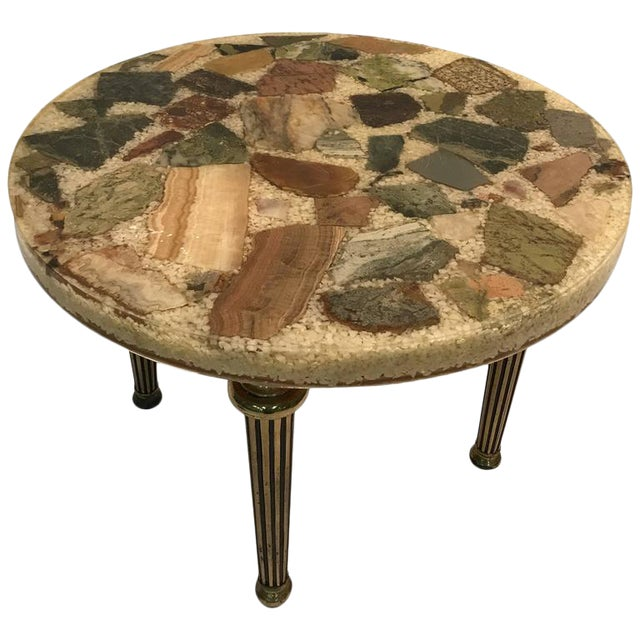 UNUSUAL ITALIAN SPECIMEN SIDE OR ACCENT TABLE WITH STONE TOP AND BRASS LEGS For Sale