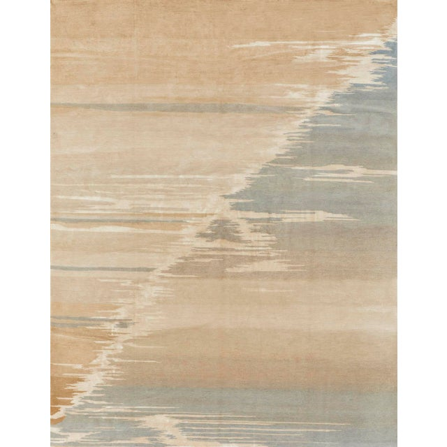 2010s Schumacher Patterson Flynn Martin Current Hand Knotted Wool Silk Modern Rug For Sale - Image 5 of 5