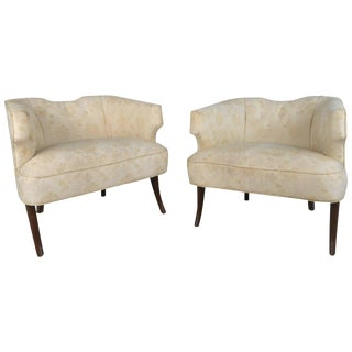 Unique Pair of Mid-Century Modern Sculpted Back Armchairs For Sale