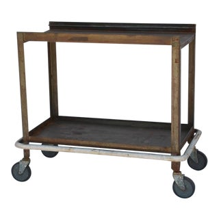 1950s Sturdy Industrial Bar Cart on Wheels For Sale