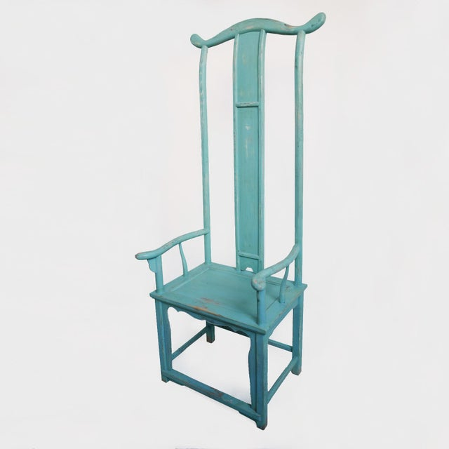 Tall Powder Blue Ming Style Chair Sanded Matte Finish With Lots Of Character Unique