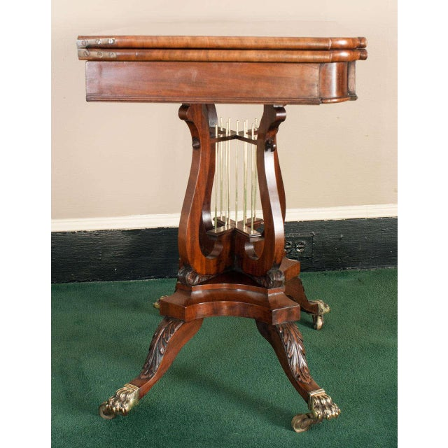 Brown Federal Cross-Lyre Card Table For Sale - Image 8 of 10
