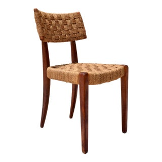 Teak Mid Century Modern Side Desk Rope Chair For Sale