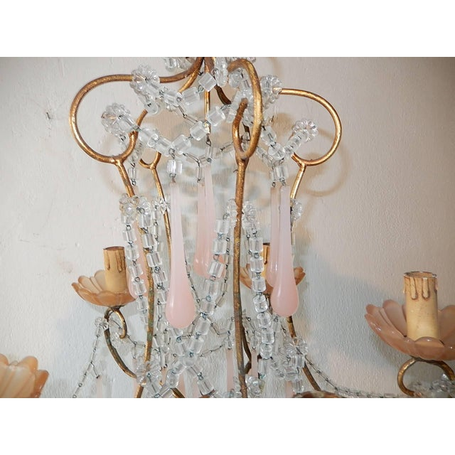 French French Crystal Pink Bubble Gum Opaline Drops Bobeches and Beads Chandelier For Sale - Image 3 of 10