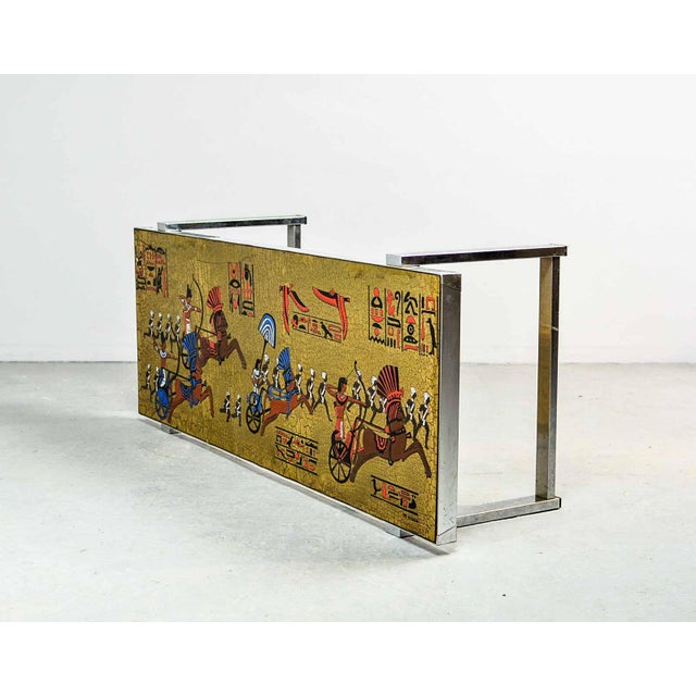 Artistic Mid-Century Belgium Design Egyptian Decorated Coffee Table by De Nisco, 1970s For Sale - Image 9 of 10