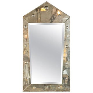 Hollywood Regency Venetian Style MIrror of Pyramid Design Venetian For Sale