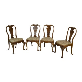 Georgian Style Custom Quality Set 4 Burl Walnut Dining Chairs For Sale