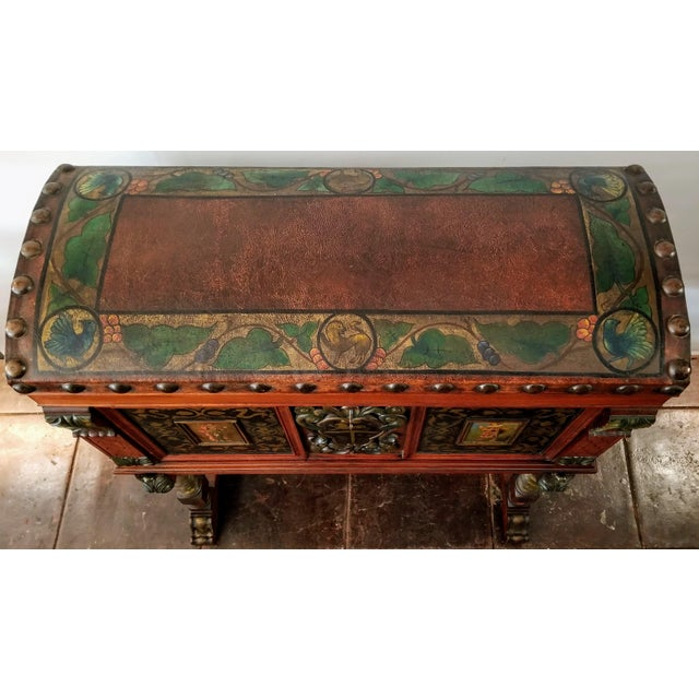 Metal Spanish Colonial Revival Painted Leather and Wood Drop-Front Desk on Stand and Chair For Sale - Image 7 of 13