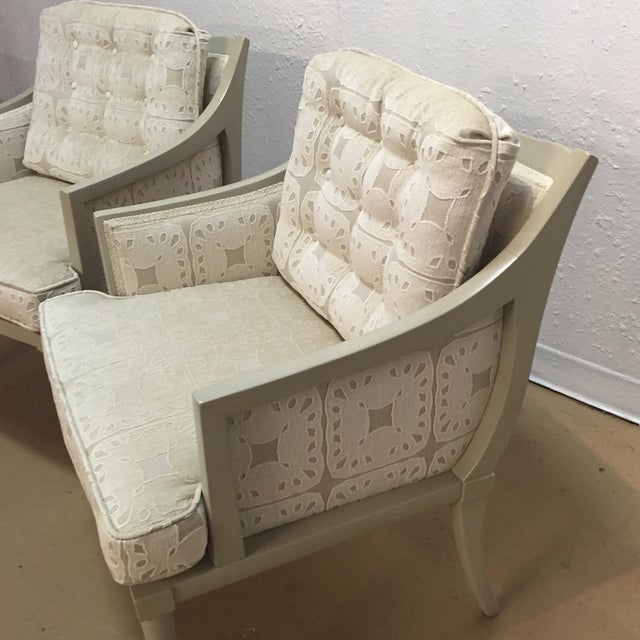 Vintage Mid-Century Taupe Armchairs - A Pair - Image 3 of 7