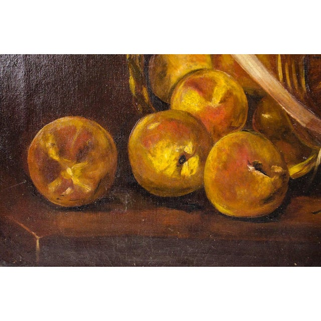 Early 20th Century Antique Fruit Basket Still Life Oil on Canvas Painting For Sale - Image 4 of 13