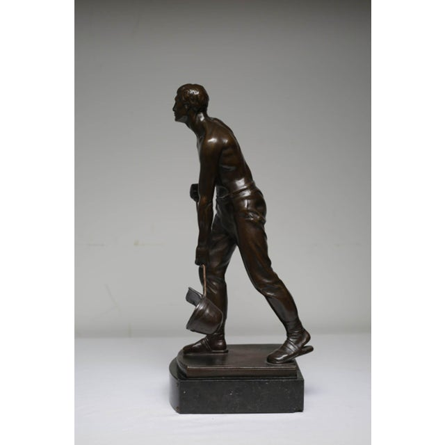 Early 20th Century Bronze Steel Worker Figure on Marble Signed by Artist For Sale - Image 4 of 8