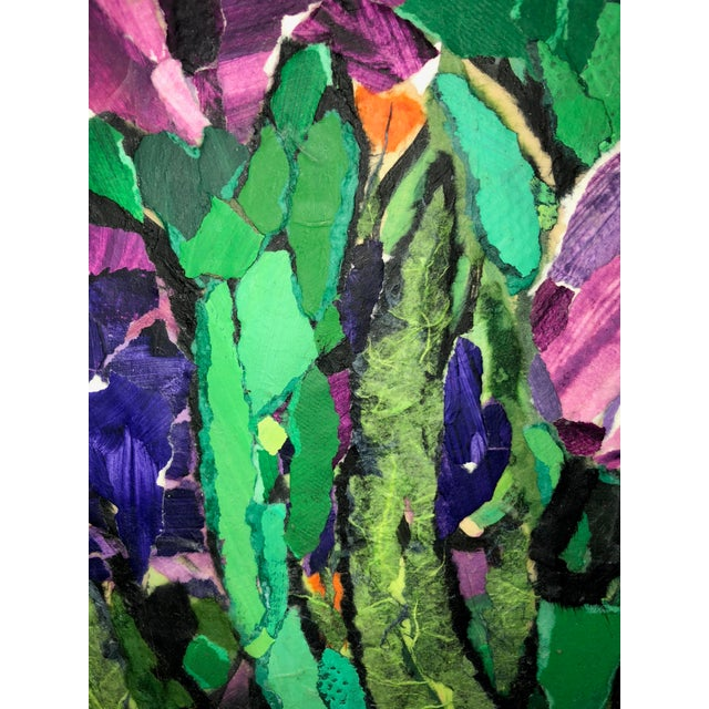 """Purple Irises II"" Acrylic Collage Painting For Sale In Atlanta - Image 6 of 7"