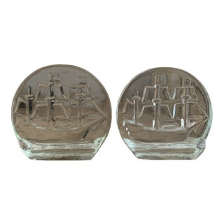 Blenko Glass Sailing Ship Bookends- a Pair For Sale