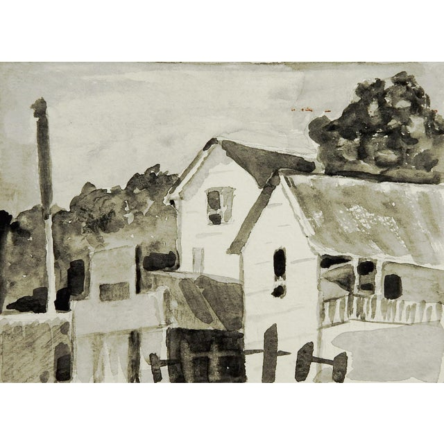 Village Grisaille Watercolor - Image 2 of 3
