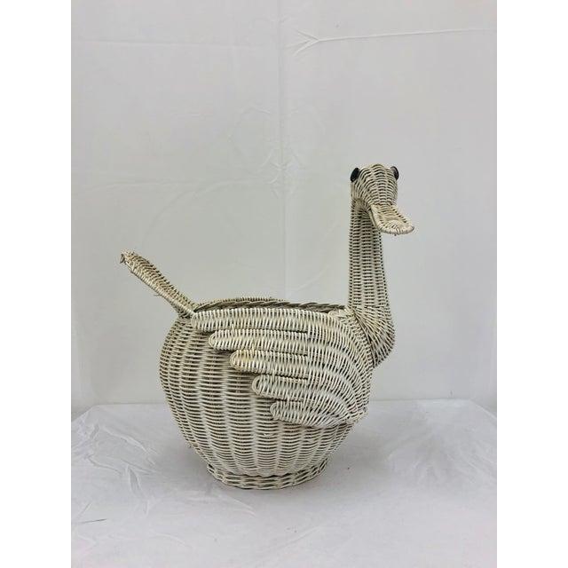 Wicker Vintage Woven Wicker Swan Bird Basket For Sale - Image 7 of 11