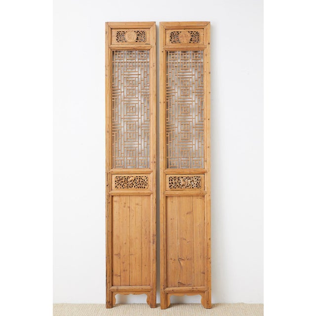 Pair of Chinese Carved Doors With Lattice Windows For Sale - Image 4 of 13