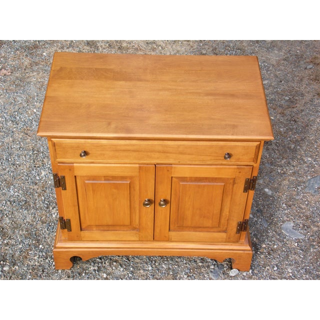 Pair Beal's Solid Rock Maple Nightstands Bedside Cabinets End Tables Record Cabinet For Sale - Image 9 of 13