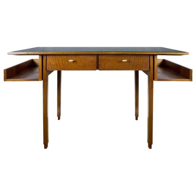 1970s Rationalist Desk by Pietro Bossi, Waxed Walnut, Brass, Formica - Italy For Sale