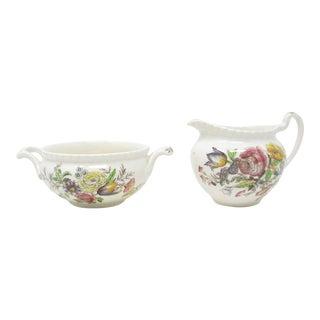 Vintage Johnson Brothers Garden Bouquet Creamer & Sugar Bowl - 2 Pieces For Sale