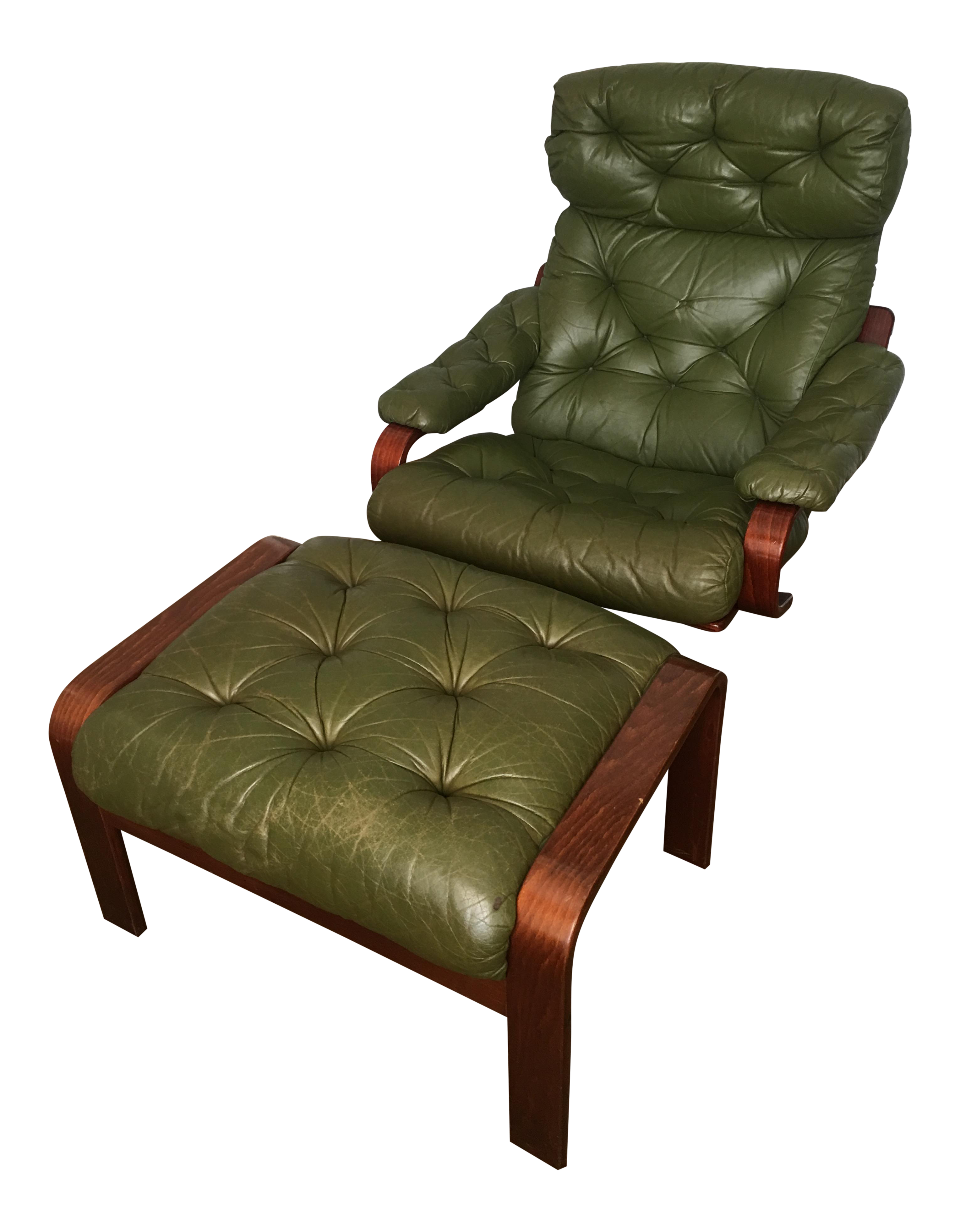 Perfect 1960s Vintage Swedish Green Leather Chair U0026 Ottoman