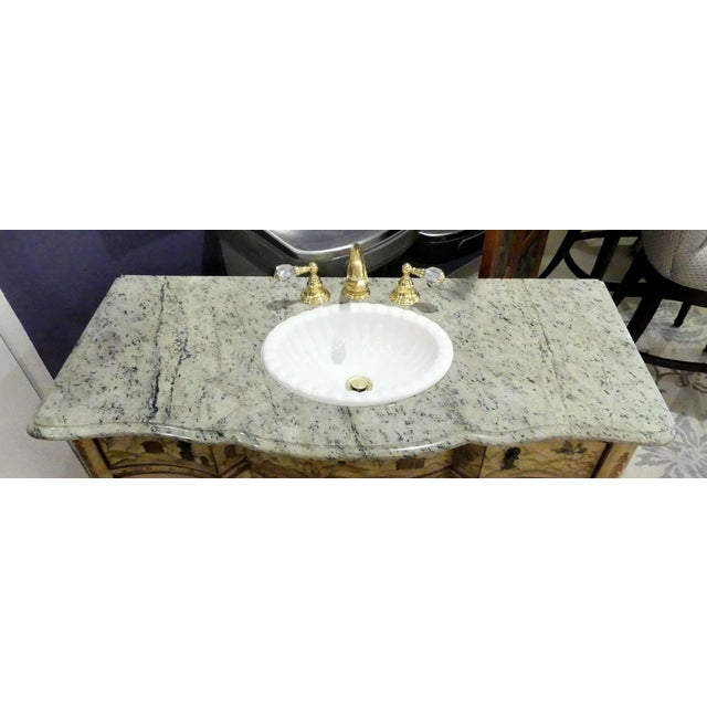 Wood Chinoiserie Paint Decorated Sink Vanity For Sale - Image 7 of 13
