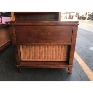 Traditional Wood Side Table With Rattan Drawer Preview