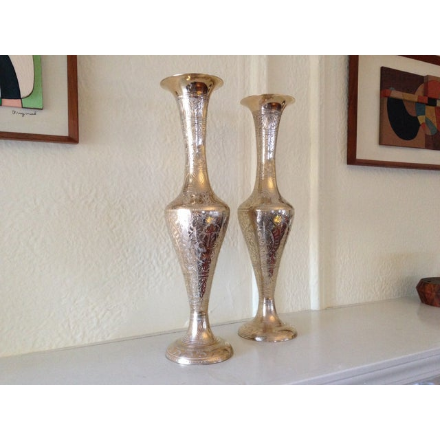 Tall Vintage Brass Vases - a Pair - Image 2 of 9