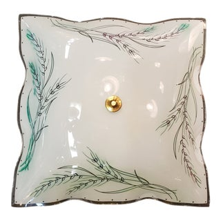 1970s Floral Painted Wavy Square Flush Mount For Sale