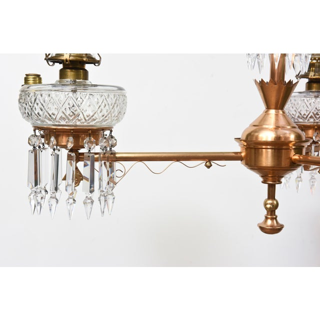 Three Light Aesthetic Movement Red Brass and Crystal Chandelier For Sale - Image 4 of 11