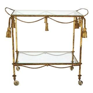 Midcentury Italian Gilt Metal Rope and Tassel Bar or Tea Cart For Sale