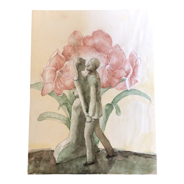 Original Watercolor Painting by Ivy Starr Dancing With Amarillus Flower For Sale