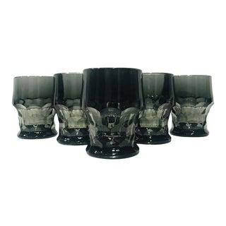 1960s Hollywood Regency Gothic Black Barware Rock Glasses - Set of 6 For Sale