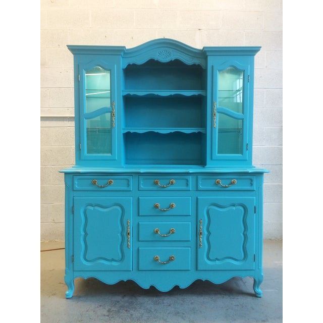American Turquoise Chippendale Style Oak Hutch - Image 2 of 10