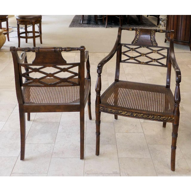 Lovey vintage chairs by John Richard. Regency styling with carved wood frame and caned seat with optional cushion....