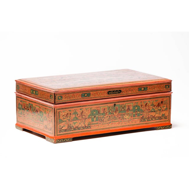 Asian Antique Extra Large Hand-Painted Red Burmese Lacquered Box For Sale - Image 11 of 11
